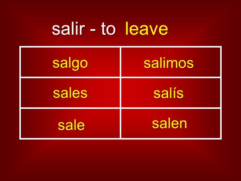 salir - to leave salgo salimos sales salís sale salen