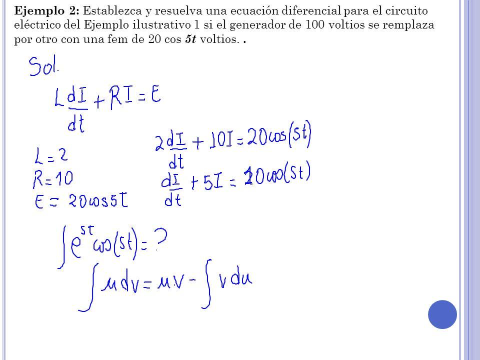 Ejemplo 2: Establezca y resuelva una ecuación diferencial para el circuito eléctrico del Ejemplo ilustrativo 1 si el generador de 100 voltios se remplaza por otro con una fem de 20 cos 5t voltios.