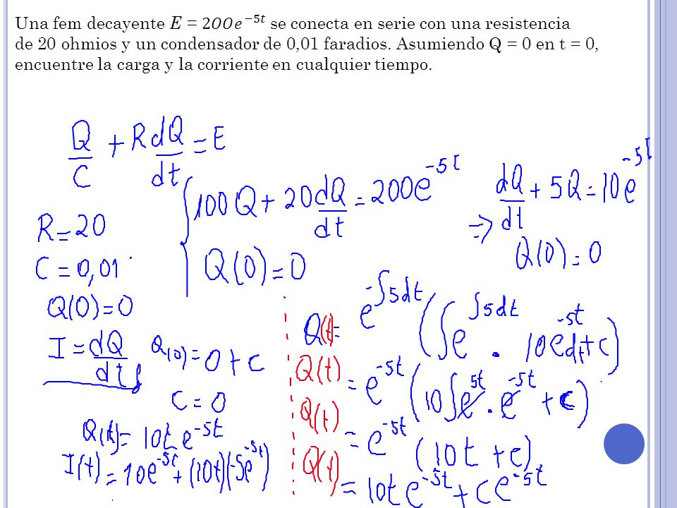Una fem decayente E = 2𝑂𝑂 𝑒 −5𝑡 se conecta en serie con una resistencia
