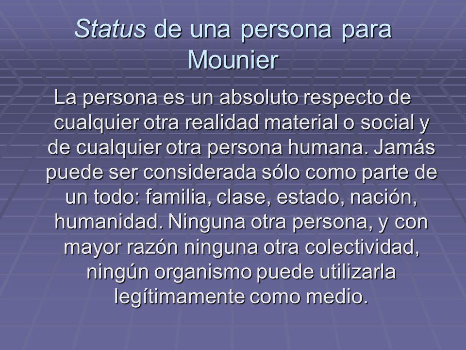 Status de una persona para Mounier
