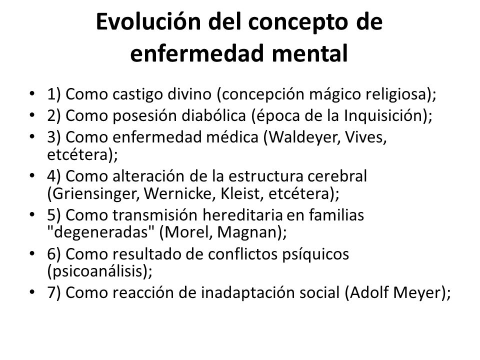 Evolución del concepto de enfermedad mental