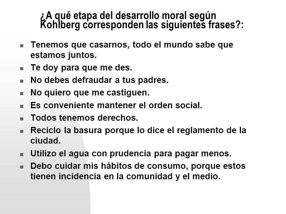 ¿A qué etapa del desarrollo moral según Kohlberg corresponden las siguientes frases :