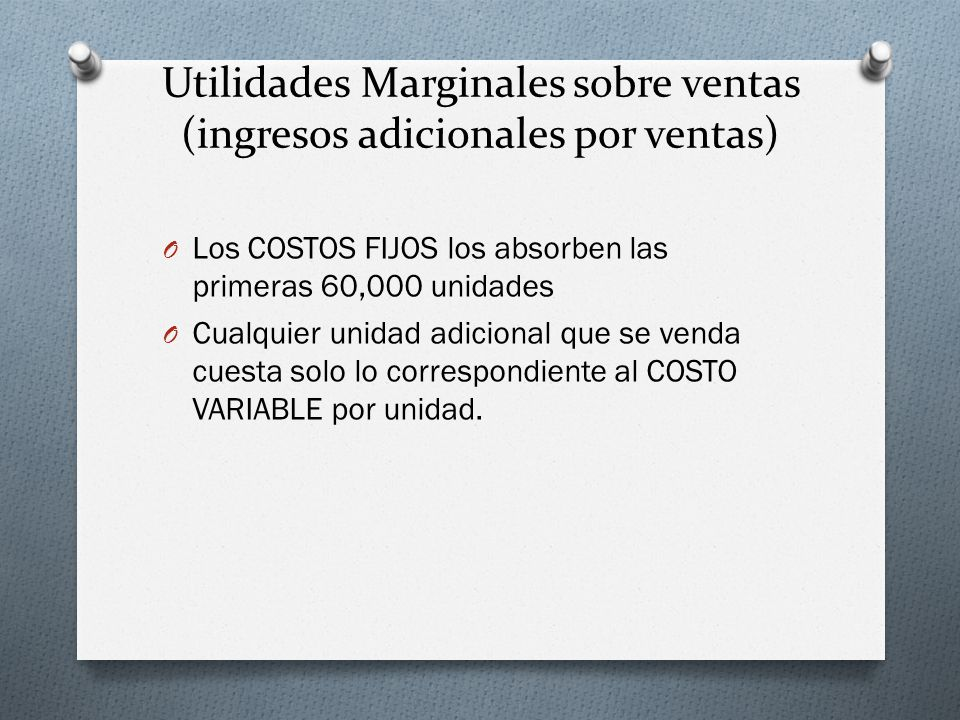 Utilidades Marginales sobre ventas (ingresos adicionales por ventas)