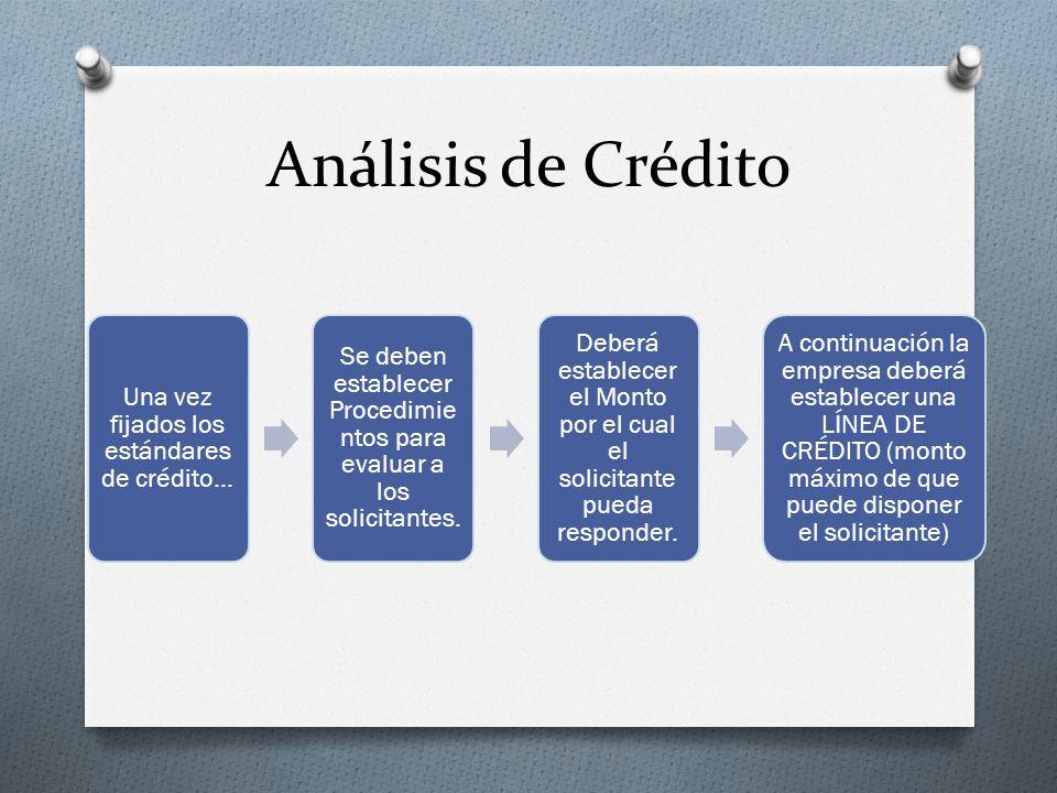 Análisis de Crédito Una vez fijados los estándares de crédito…