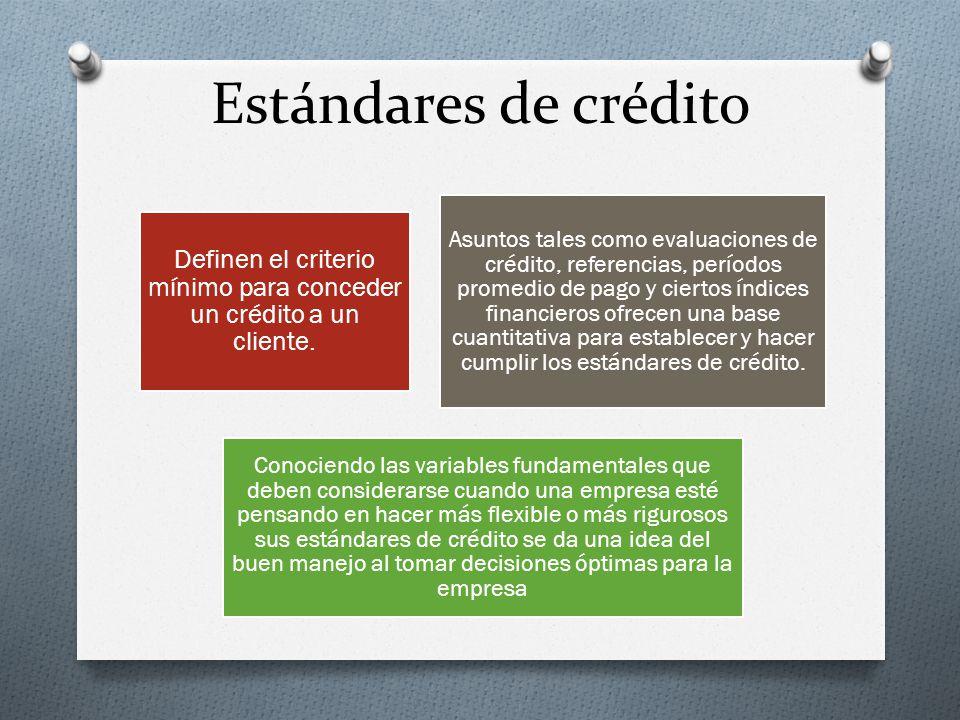 Definen el criterio mínimo para conceder un crédito a un cliente.