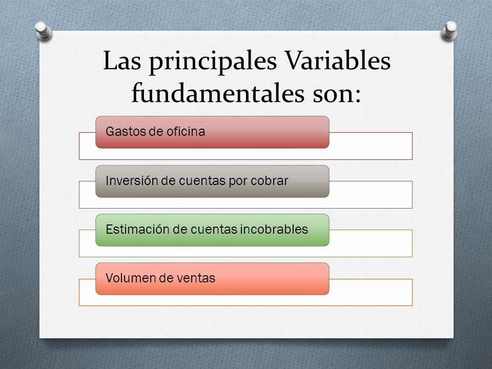 Las principales Variables fundamentales son: