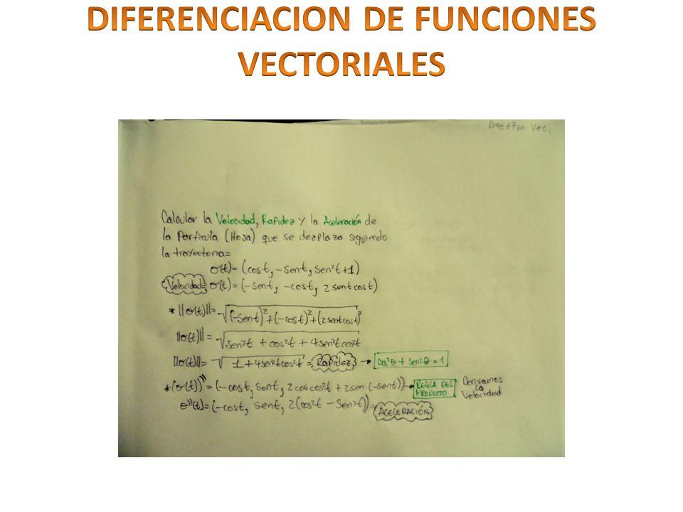 DIFERENCIACION DE FUNCIONES VECTORIALES