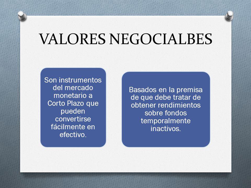 VALORES NEGOCIALBES Son instrumentos del mercado monetario a Corto Plazo que pueden convertirse fácilmente en efectivo.