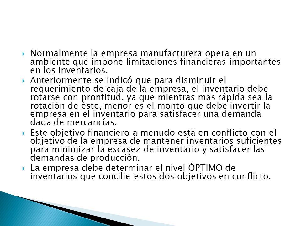 Normalmente la empresa manufacturera opera en un ambiente que impone limitaciones financieras importantes en los inventarios.