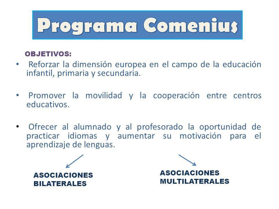 Programa Comenius OBJETIVOS: Reforzar la dimensión europea en el campo de la educación infantil, primaria y secundaria.