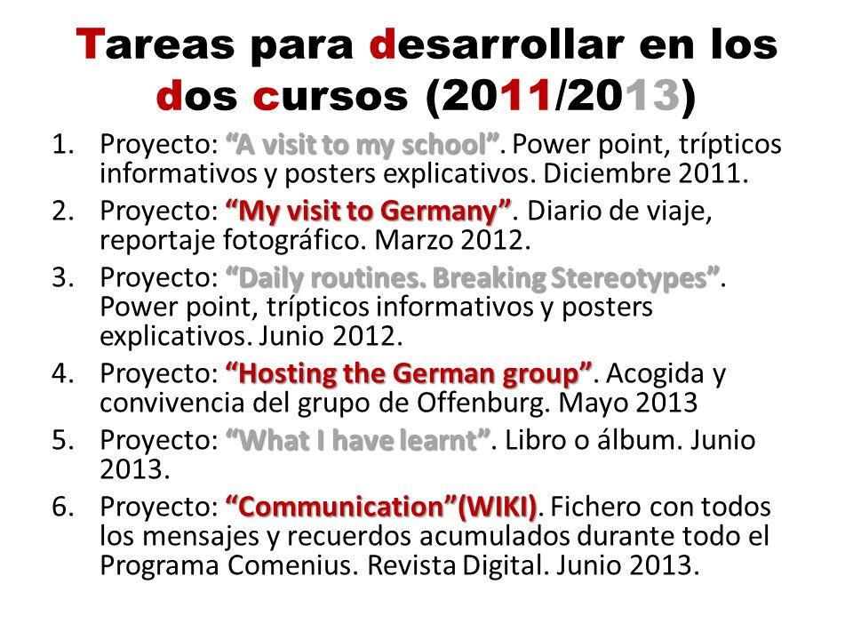 Tareas para desarrollar en los dos cursos (2011/2013)