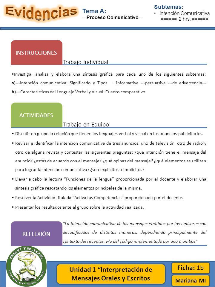 Unidad 1 Interpretación de Mensajes Orales y Escritos