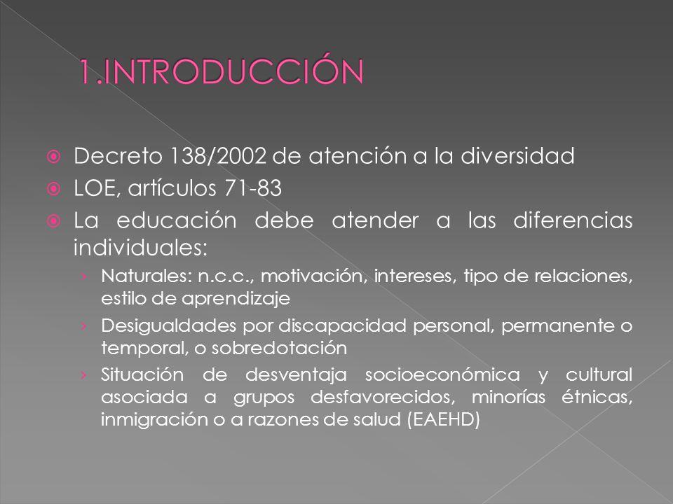 Decreto 138/2002 de atención a la diversidad LOE, artículos 71-83
