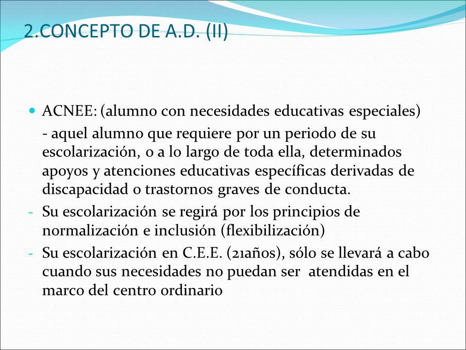 2.CONCEPTO DE A.D. (II) ACNEE: (alumno con necesidades educativas especiales)