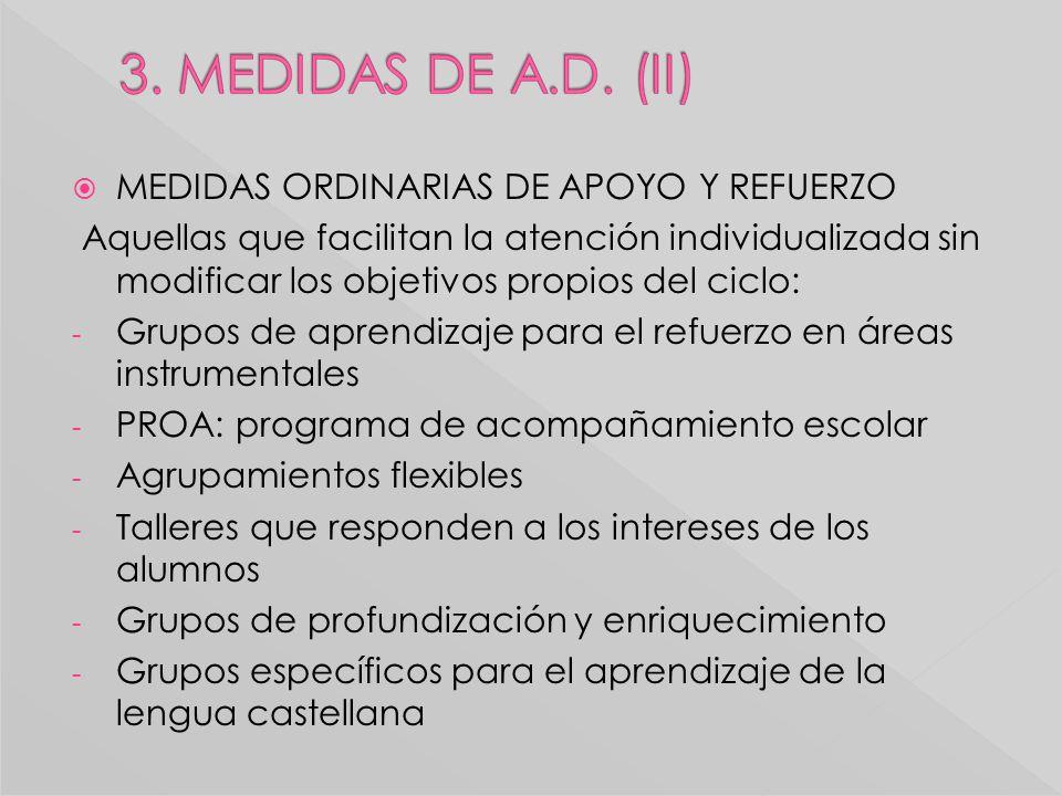 MEDIDAS ORDINARIAS DE APOYO Y REFUERZO