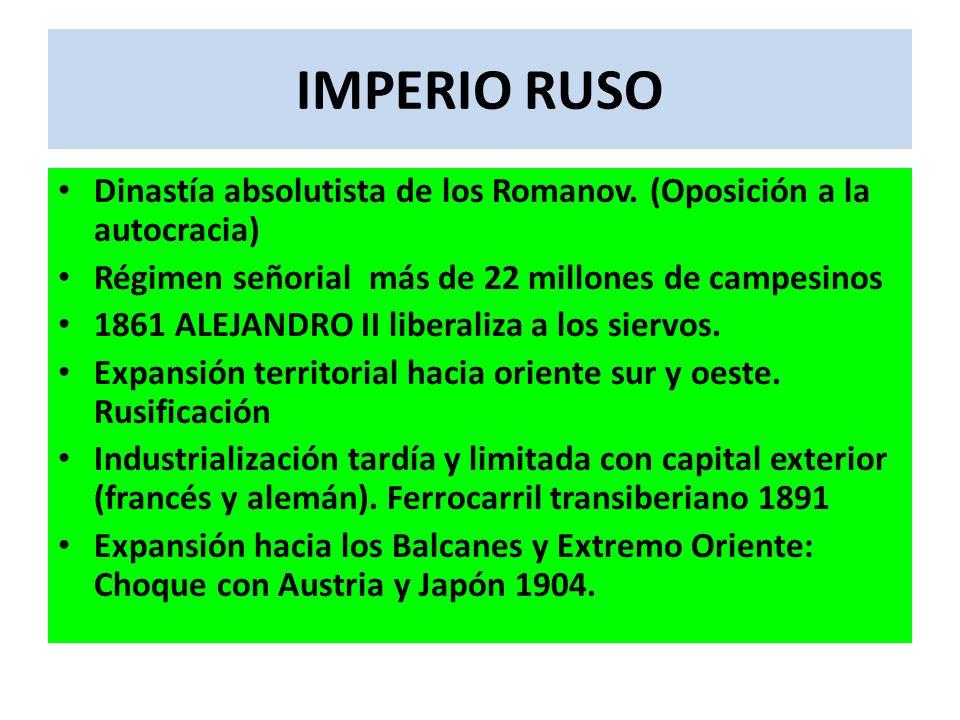 IMPERIO RUSO Dinastía absolutista de los Romanov. (Oposición a la autocracia) Régimen señorial más de 22 millones de campesinos.