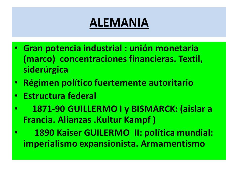 ALEMANIA Gran potencia industrial : unión monetaria (marco) concentraciones financieras. Textil, siderúrgica.