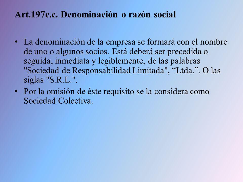 Art.197c.c. Denominación o razón social