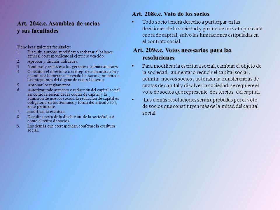 Art. 204c.c. Asamblea de socios y sus facultades