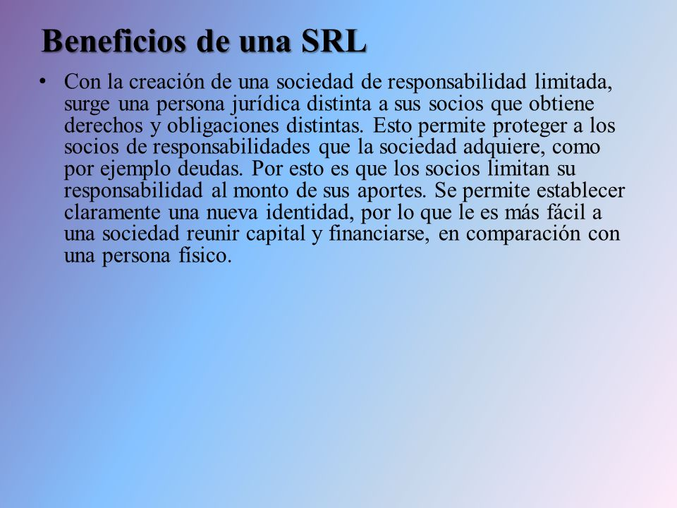 Beneficios de una SRL