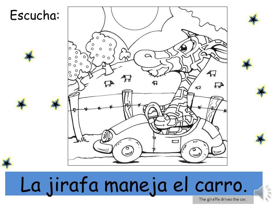 La jirafa maneja el carro.