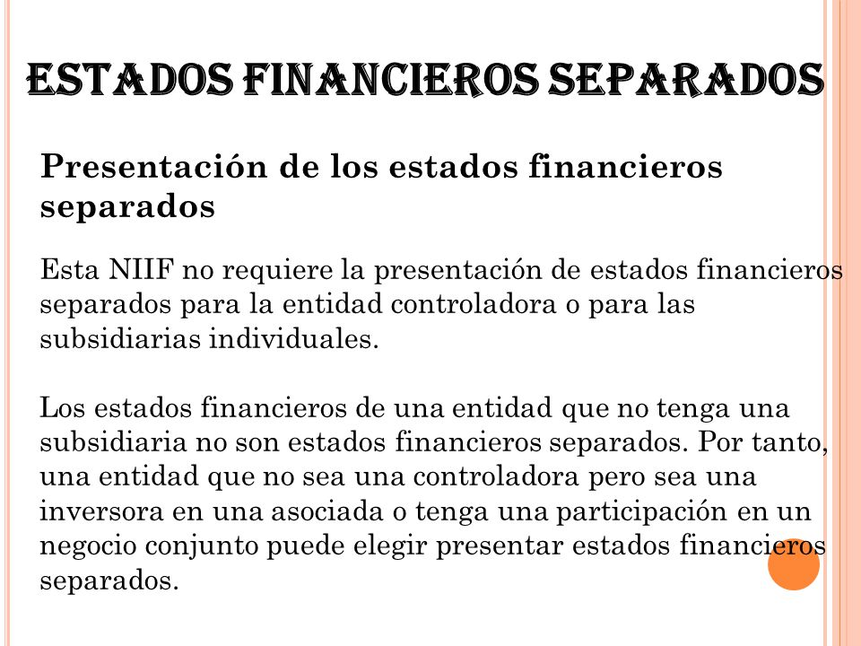 Estados financieros separados