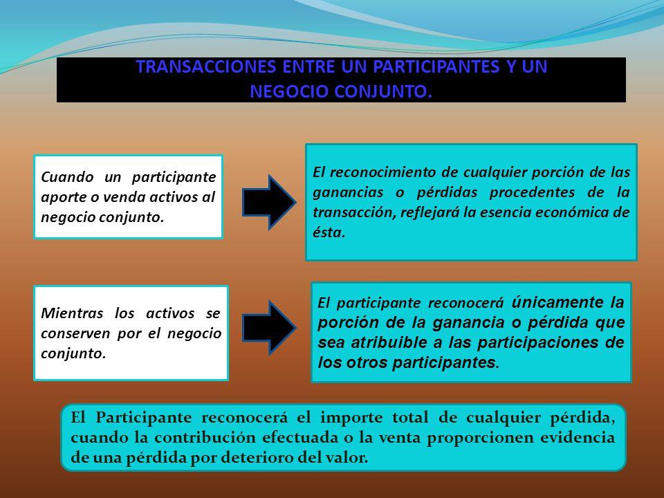 TRANSACCIONES ENTRE UN PARTICIPANTES Y UN NEGOCIO CONJUNTO.