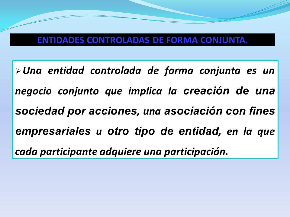ENTIDADES CONTROLADAS DE FORMA CONJUNTA.