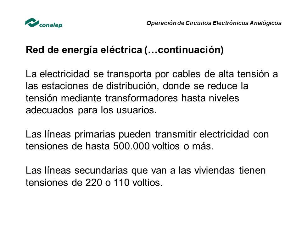 Red de energía eléctrica (…continuación)