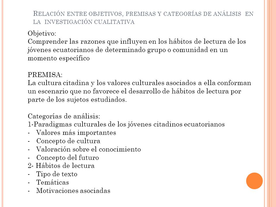 Relación entre objetivos, premisas y categorías de análisis en la investigación cualitativa