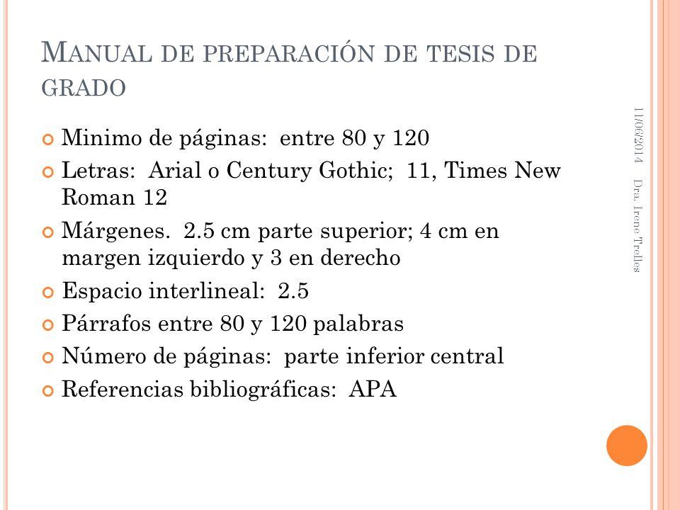 Manual de preparación de tesis de grado