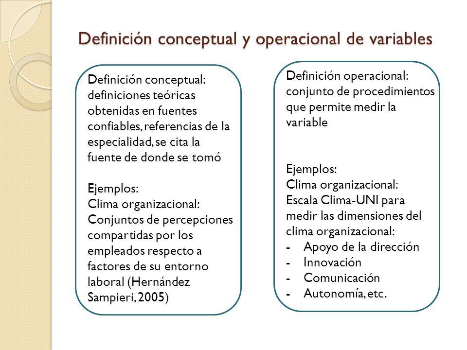 Definición conceptual y operacional de variables