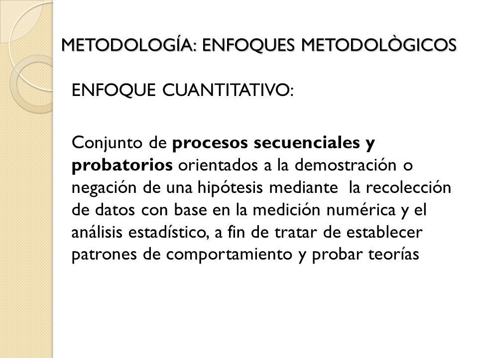 METODOLOGÍA: ENFOQUES METODOLÒGICOS