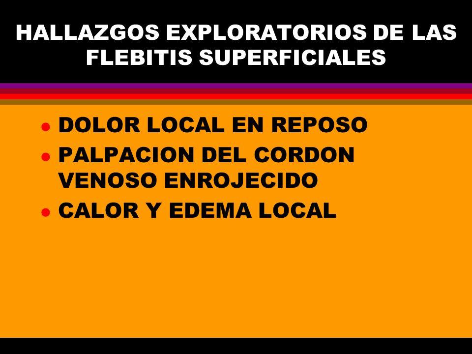 HALLAZGOS EXPLORATORIOS DE LAS FLEBITIS SUPERFICIALES
