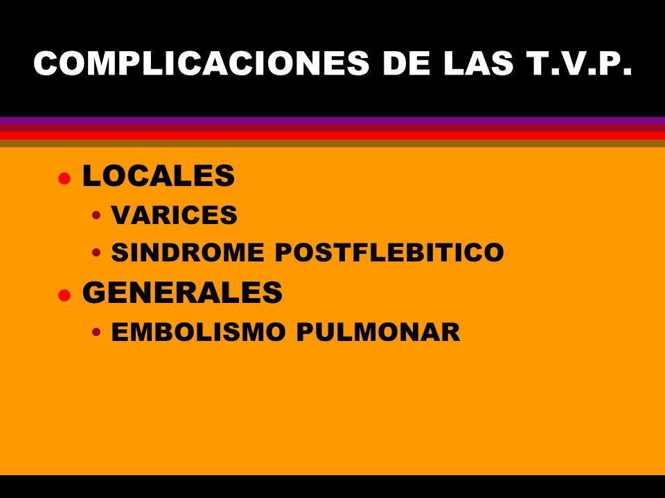 COMPLICACIONES DE LAS T.V.P.