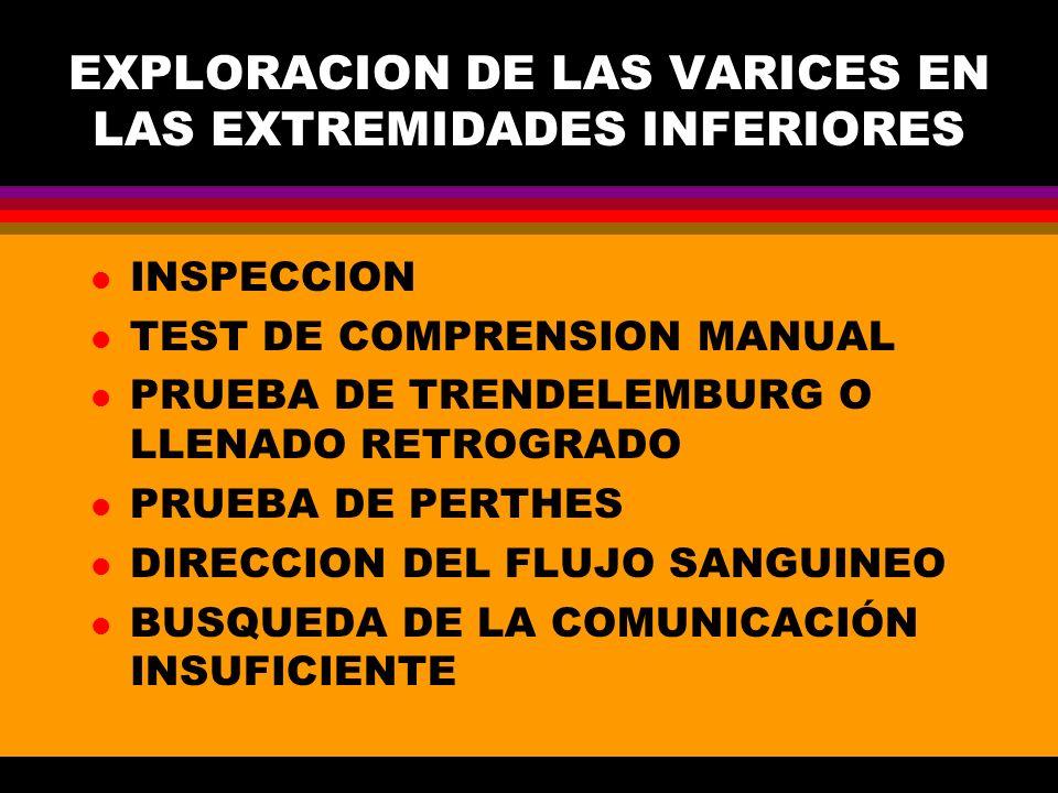 EXPLORACION DE LAS VARICES EN LAS EXTREMIDADES INFERIORES
