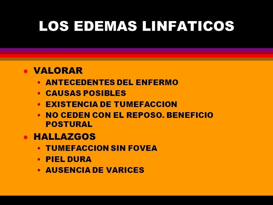 LOS EDEMAS LINFATICOS VALORAR HALLAZGOS ANTECEDENTES DEL ENFERMO