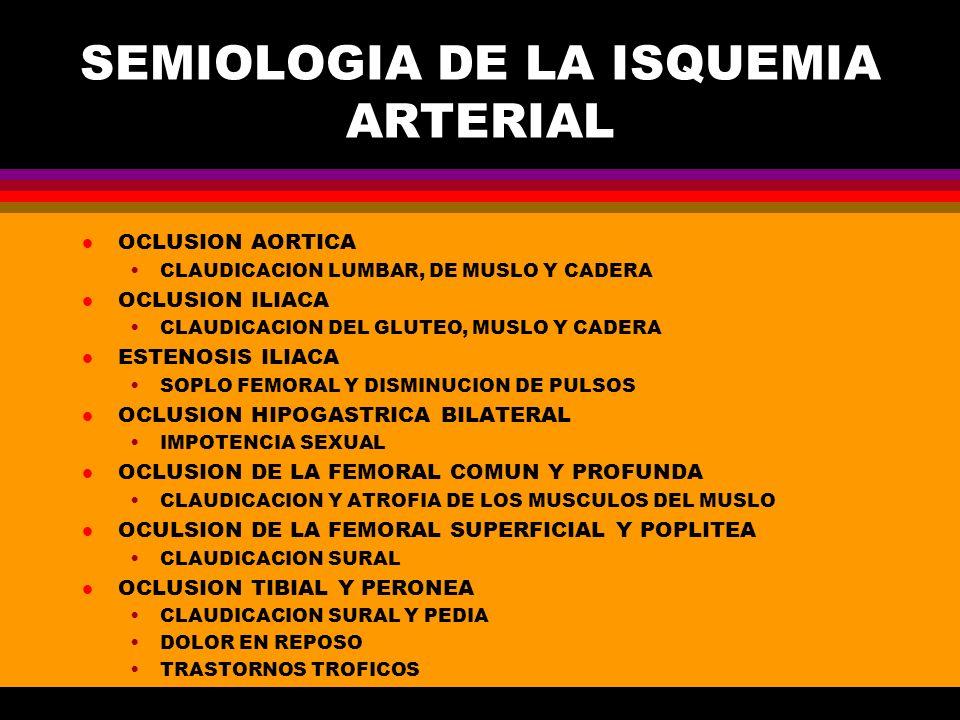 SEMIOLOGIA DE LA ISQUEMIA ARTERIAL