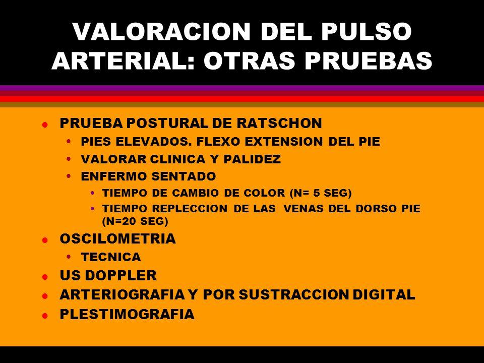 VALORACION DEL PULSO ARTERIAL: OTRAS PRUEBAS