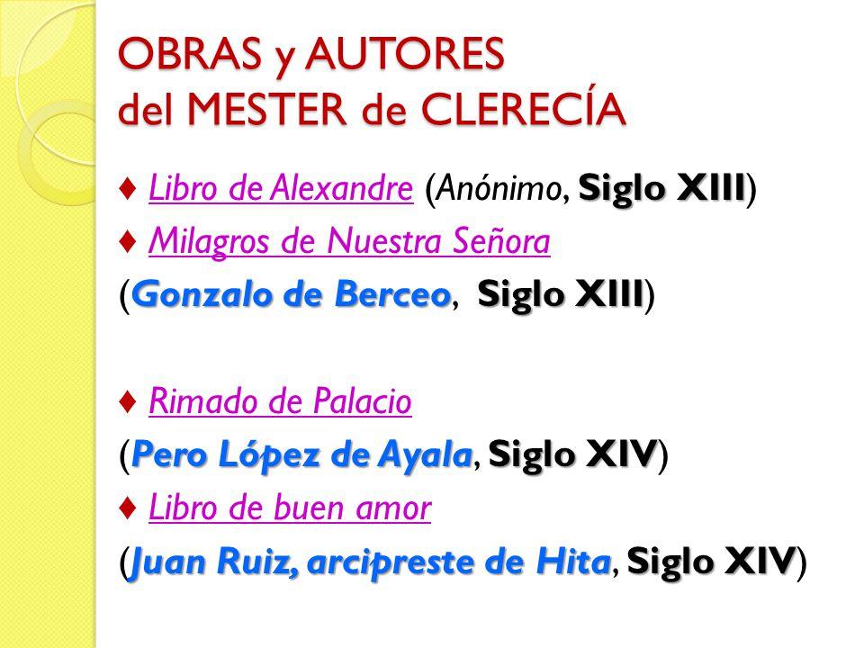 OBRAS y AUTORES del MESTER de CLERECÍA