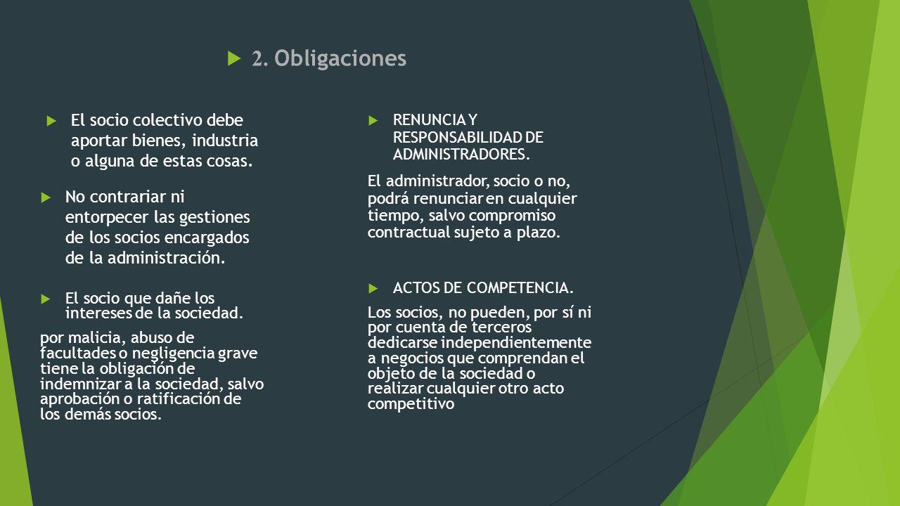 2. Obligaciones El socio colectivo debe aportar bienes, industria o alguna de estas cosas. RENUNCIA Y RESPONSABILIDAD DE ADMINISTRADORES.