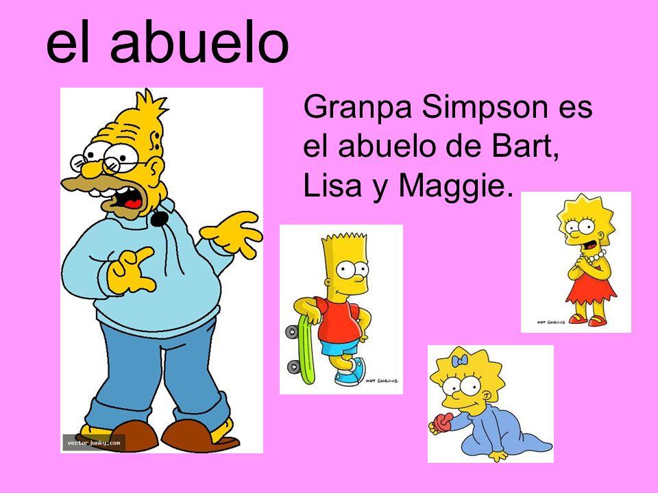 el abuelo Granpa Simpson es el abuelo de Bart, Lisa y Maggie.
