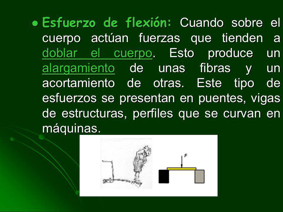 Esfuerzo de flexión: Cuando sobre el cuerpo actúan fuerzas que tienden a doblar el cuerpo.