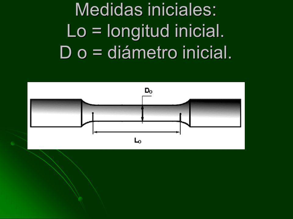 Medidas iniciales: Lo = longitud inicial. D o = diámetro inicial.