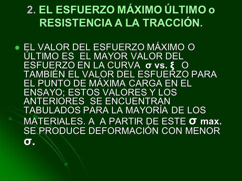 2. EL ESFUERZO MÁXIMO ÚLTIMO o RESISTENCIA A LA TRACCIÓN.
