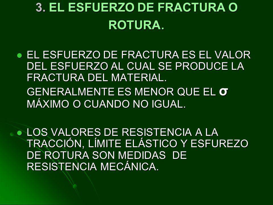 3. EL ESFUERZO DE FRACTURA O ROTURA.