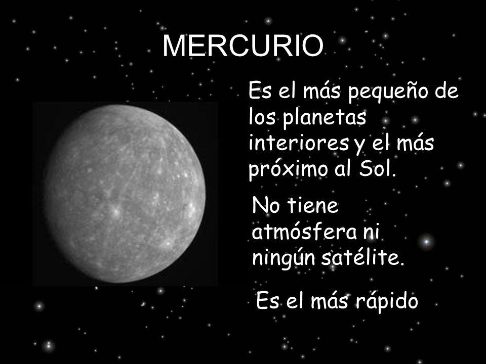 MERCURIO Es el más pequeño de los planetas interiores y el más próximo al Sol. No tiene atmósfera ni ningún satélite.