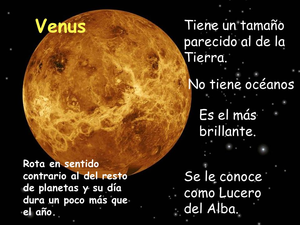 Venus Tiene un tamaño parecido al de la Tierra. No tiene océanos
