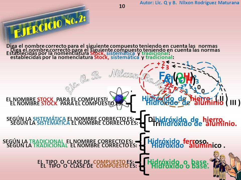 Lic. Q. B. Nilxon RoMa EJERCICIO No. 1: EJERCICIO No. 2: Fe (OH)2