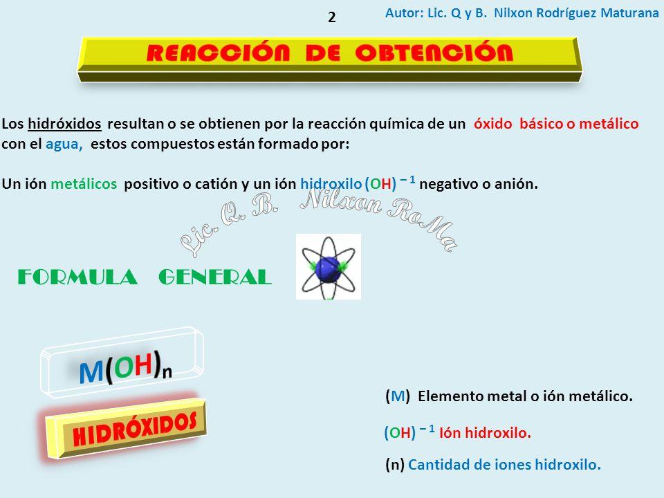 Lic. Q. B. Nilxon RoMa M(OH)n REACCIÓN DE OBTENCIÓN HIDRÓXIDOS